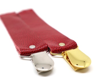 RED Leather Pacifier Clip // Leather Soother Clip // Leather Toy Clip // Leather Baby Accessory // Paci Holder // Neutral Baby Gift