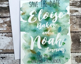 Save the date cards, set of 10 printed handmade wedding cards, green watercolor save the dates, simple blue customized wedding invitations