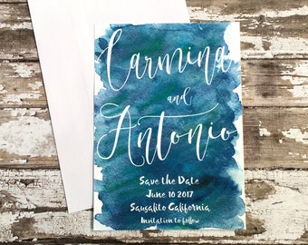 Blue save the date cards, set of 10 printed handmade wedding announcements, watercolor customized save the dates, simple navy invitations