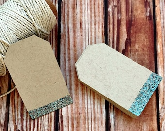 Blank glitter paper tags, set of 25 custom wedding labels, small sparkle place cards, embossed wedding favor gift tags, DIY wedding decor