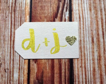 Engagement party decor, set of 25 custom handmade blush and gold wedding paper tags, small bridal shower favor labels, DIY wedding decor