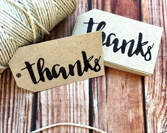 Thank you tags, set of 25 handwritten paper wedding favors, bridal shower and engagement party decor tags, party gift labels, DIY wedding