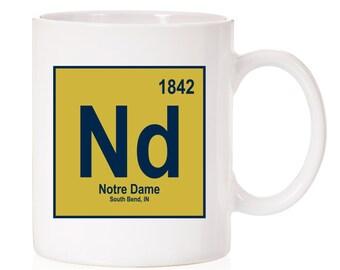 Notre Dame University Periodic Style Mug   Notre Dame Fighting Irish   South Bend IN    ND   Light Theme