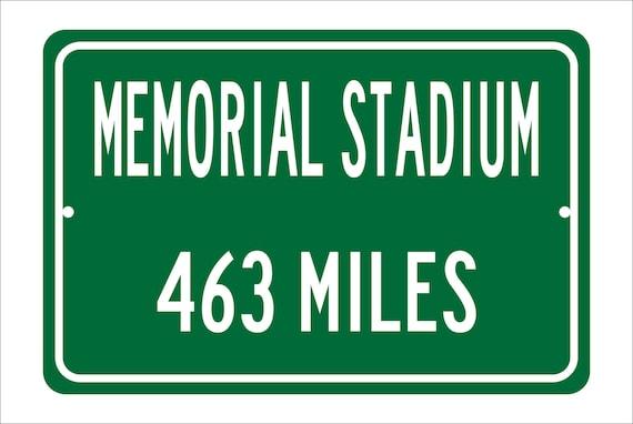 ca90c99c79be0c Custom College Highway Distance Sign to Memorial Stadium