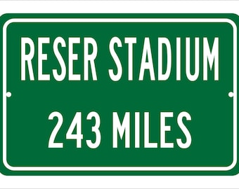 Custom College Highway Distance Sign to Reser Stadium | Home of the Oregon State University Beavers | Beaver Football | OSU | Beavers