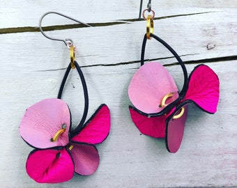 Hot Pink Abstract Flower Leather Earrings
