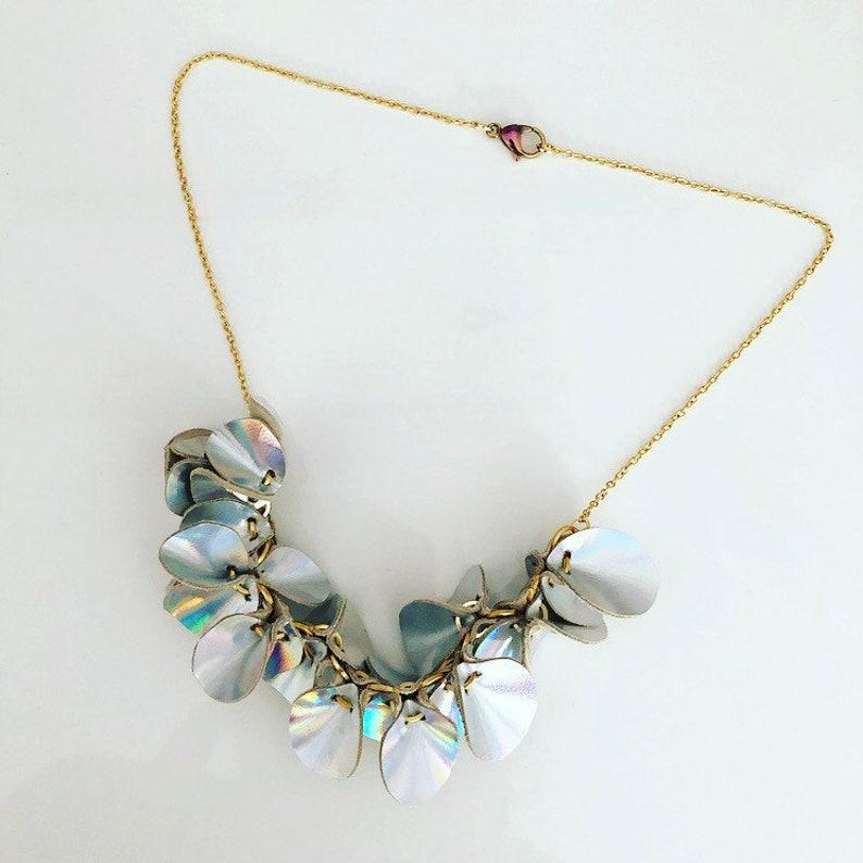Iridescent Leather Flower Vine Necklace