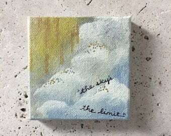 The sky's the limit painting, mini painting, mixed media painting, acrylic, kids room decor, cloud painting
