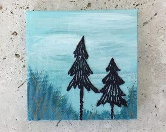 Tree painting, mini canvas