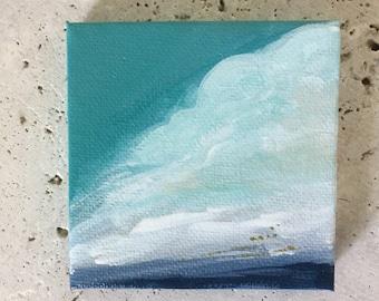 Cloud painting, abstract, mini canvas, mini artwork, child room decor, nursery decor, wyatt and gray