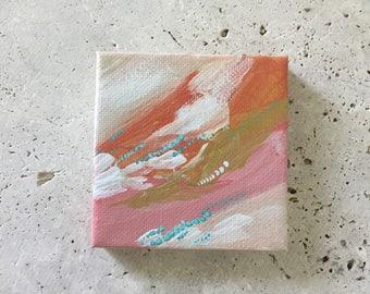Abstract mini painting, miniature painting, small artwork, affordable artwork, kids room decor, nursery decor,