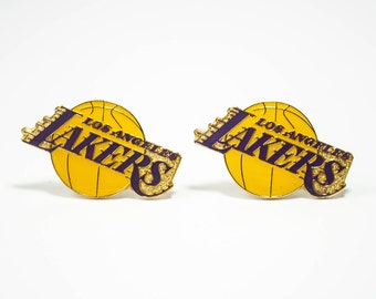 Los Angeles Lakers Cuff Links -- FREE SHIPPING with USPS First Class Domestic Mail