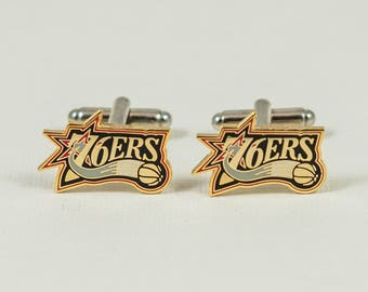 Philadelphia 76ers Cuff Links -- FREE SHIPPING with USPS First Class Domestic Mail