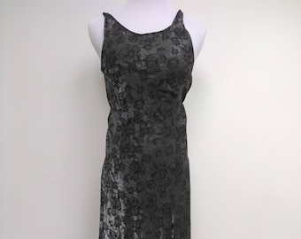 Black Silver Floral Dress - Grey Maxi - Size 6 8 S