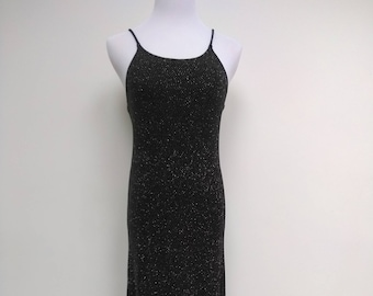 Black Silver Glitter Dress - Spots Maxi Evening - Size 8 10
