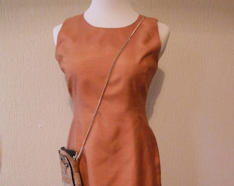 Orange Raw Silk Dress - Size 8 - Vintage