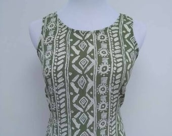 Green Pattern Summer Dress - Khaki Cream - Aztec Hawaiian - Size 10 12