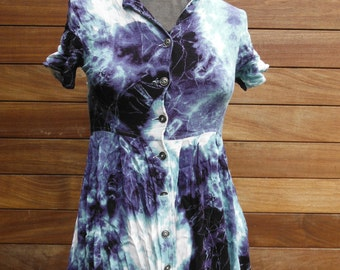 Vintage Tie Dye Blue White Dress - Petite Size XS 6 8