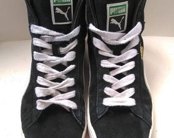 Black Suede Puma Trainers - White High Tops - UK 9