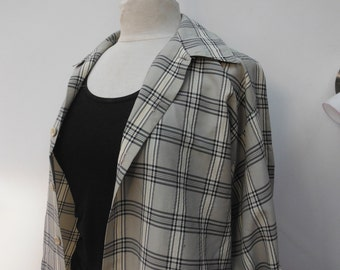 Vintage Beige Check Shirt - Size 10 12 14 M L XL - Cream Black - Oversized