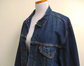 Levi's Blue Denim Trucker Jacket - 1980's Dark Red Label - 70550 - Size M L 12 14