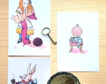 Alice in Wonderland bundle,knitting Alice, White rabbit tea party, Comfy Cheshire cat, illustration, watercolor, nursery room, wall decor
