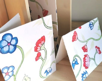 Reversible card, wish card, flowers, botanical, gift, blue flower, red flower, spring, flower lovers, double sided, anniversary, get well