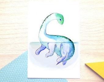 Mokele Mbembe, mythical creature, watercolor, illustration, print, dinosaur, nursery room, bestiary, baby shower, gift, decor, girl, boy