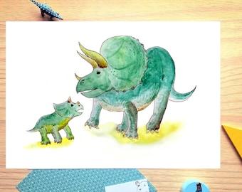 Triceratops, dinosaur, watercolor print, illustration, mother and baby, nursery, boy, girl, dinosaur print, baby gift