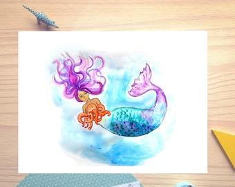 Mermaid, baby octopus, purple and blue, watercolor illustration, print, nursery decor, wall decor