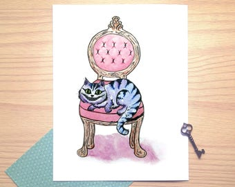 Cheshire cat, cozy, Alice in Wonderland, watercolor, illustration, wish card, print, wall illustration, nursery room, baby shower gift