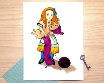 Alice in Wonderland, knitting with piglet, large illustration, print, watercolor illustration, wall decor, nursery room