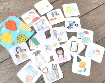 Pictograms, educative cards, routine, toddler, educational tool, clothes, toys, hygiene, activity, educative game, preschool, learning, eco