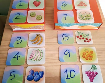 Educative cards, fruits, numbers, memory game, watercolor, illustration, toddler game, education, gift, kid game, ecofriendly, progressive