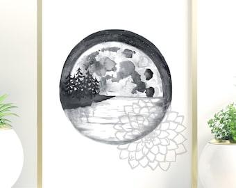 Moon, black and white, print, Norwegian, wall decor, illustration, black ink, watercolor, gift, minimalist, landscape, lake, night, nature