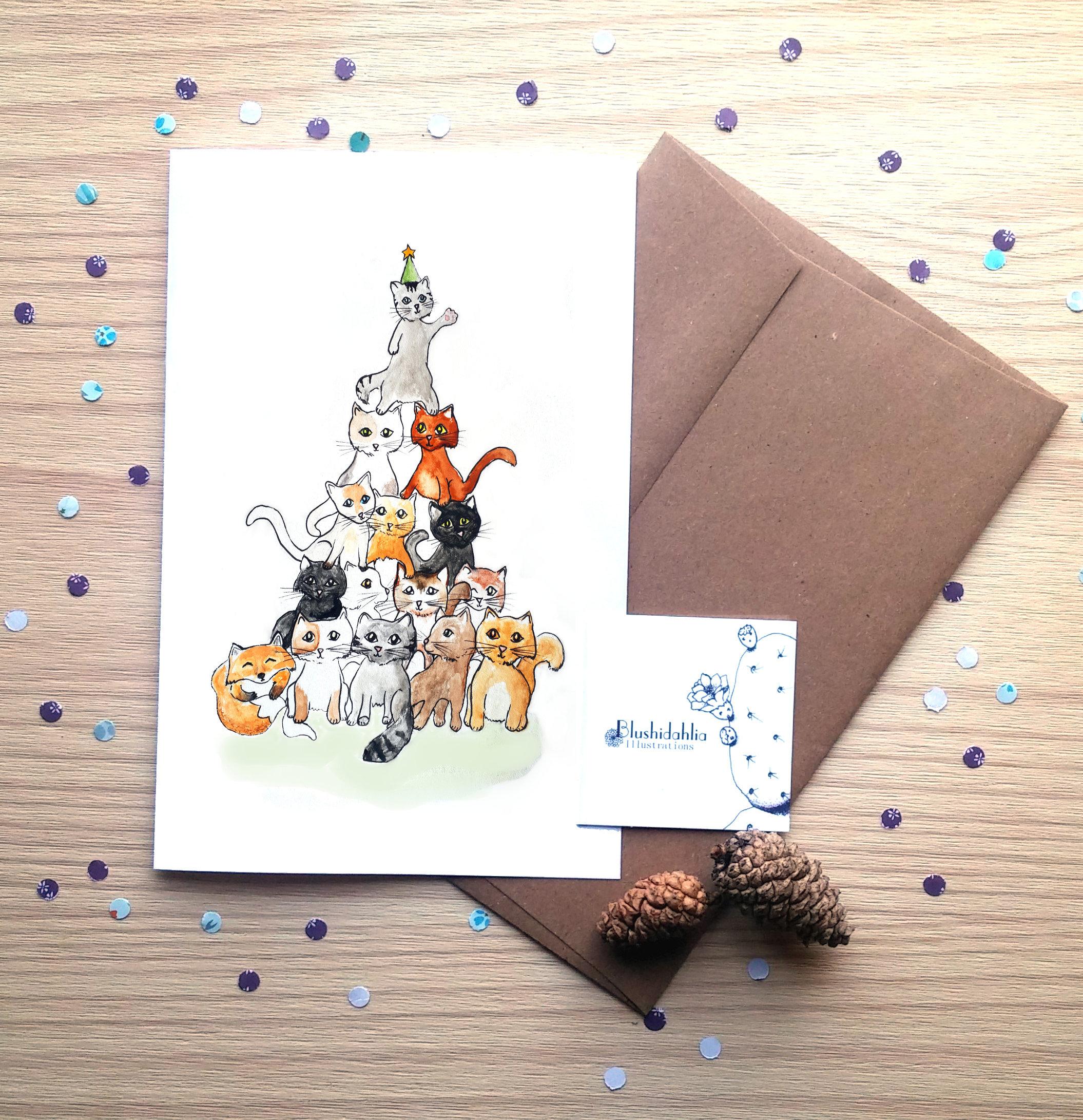 Cats Fox Christmas Card Holiday Card Wish Card Etsy