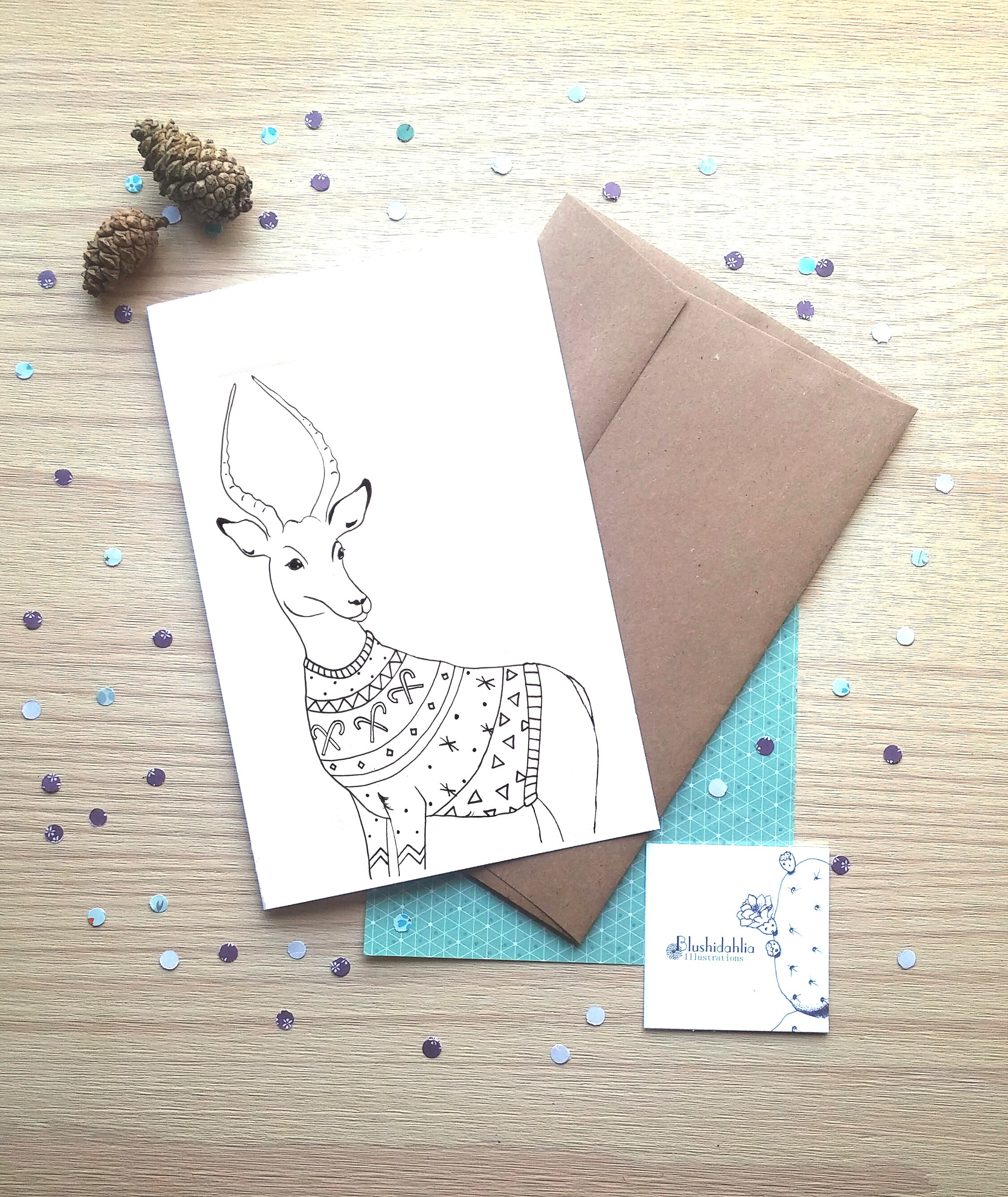 Gazelle Coloring Christmas Card Winter Card Wish Card Etsy