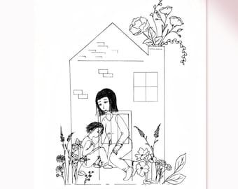 Domestic violence, donation, non-profit organization, women's shelters, community, print, black and white, gift, flowers, botanical, family