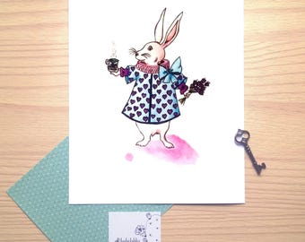 Tea party with the White rabbit, Alice in Wonderland, watercolor, small illustration,print,wall decor,wish card, nursery decor