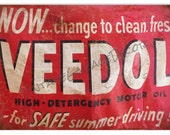Reproduction quot Veedol - High Detergency Motor Oil quot Metal Sign (Rusted)