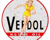 Vintage Style quot Veedol Motor Oil with Pin Up Girl quot Advertising Metal Sign