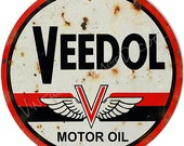 Vintage Style quot Veedol Motor Oil quot Advertising Metal Sign