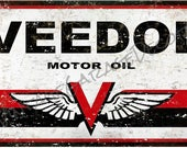 Vintage Style quot Veedol - Motor Oil quot Metal Sign, Rusted