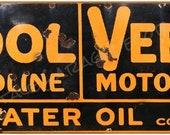 Vintage Style quot Tydol Veedol Motor Oil quot Advertising Metal Sign