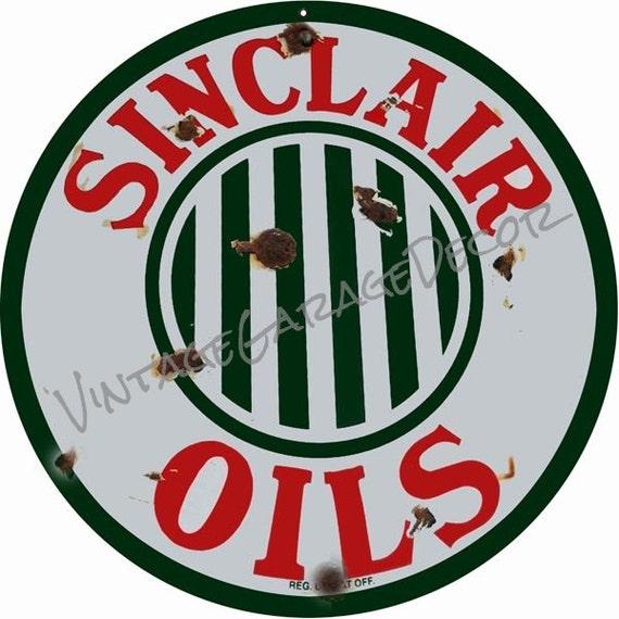 VINTAGE ANTIQUE Style Metal Sign Sinclair Gasoline Cutout 18x23