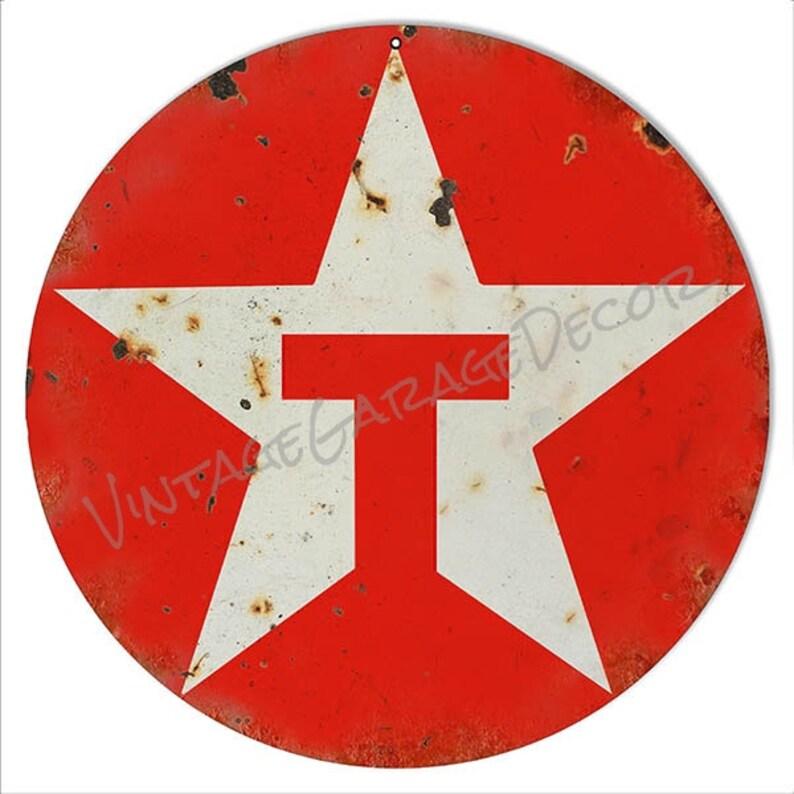 Reproduction Texaco (1981 Logo) Round Metal Sign