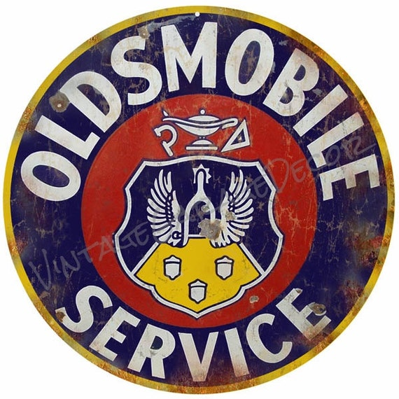 Vintage Oldsmobile Service And Sales Round Metal Sign Rusted Etsy