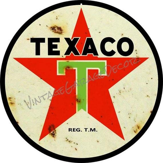 Vintage Style Texaco 1936 Logo ( Star ) Round Metal Sign