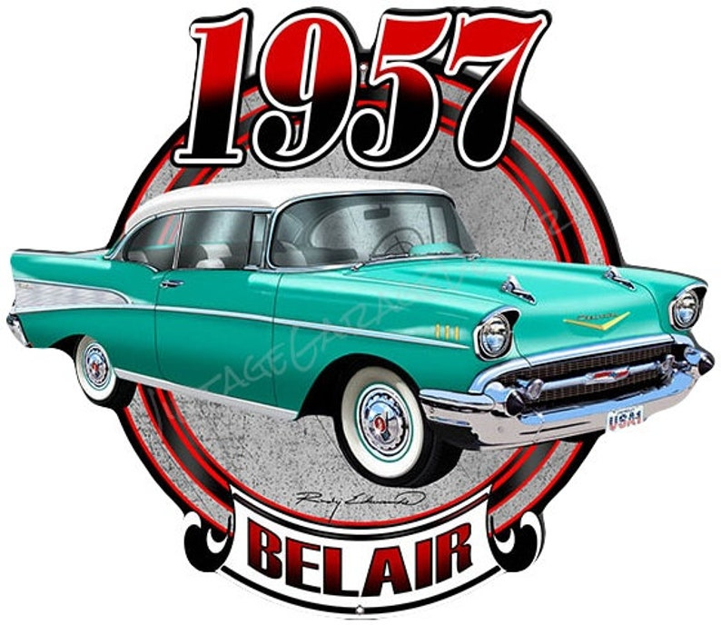 Nostalgic 1957 Chevrolet Belair Classic Car Cut Out Man Cave Metal Sign By Ruby Edwards