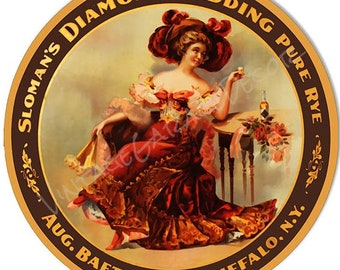 "Reproduction "" Sloman's - Diamond Wedding Pure Rye ( Buffalo, NY ) "" Round Metal Sign"